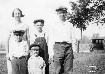 Tracie Balitz with her four boys, from oldest, Alvin, Allen, Alton, and Laban Arnold. Probably last picture of Alton. circa 1933.