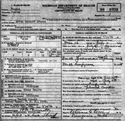 Alton Leonard Arnold Death Certificate, 1934.