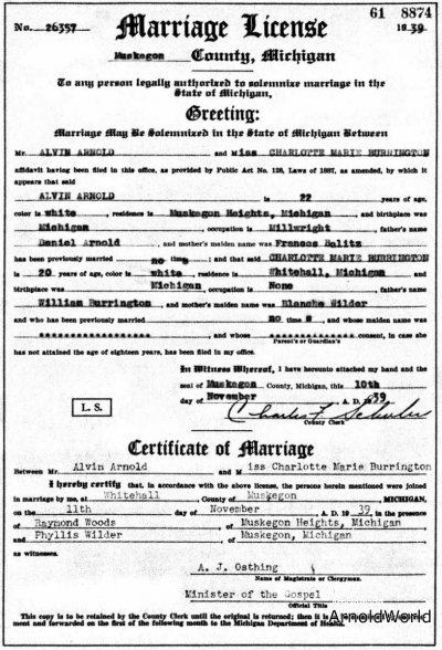 Charlotte Burrington and Alvin Arnold Marriage License and Certificate of Marriage, 1939.