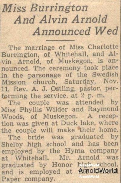 Charlotte Burrington and Alvin Arnold Announce Wedding, 1939.