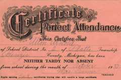 1932-10-01-ArnoldAL1925-Perfect-Attendance-Certificate
