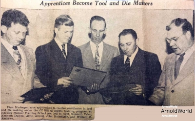 1947-01-01-ArnoldAE1917-News-Clipping-Apprentices-Become-Tool-and-Die-Makers