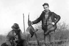Alvin Arnold and Ron Mountain, pheasant hunt, circa 1940.