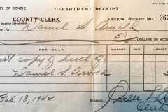 Daniel S. Arnold, receipt for birth certificate copy, 1942.