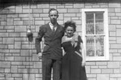 Alvin E. Arnold and wife Charlotte M. Burrington. Taken after Lillian F. Arnold [aka Harwood] funeral April 1946.