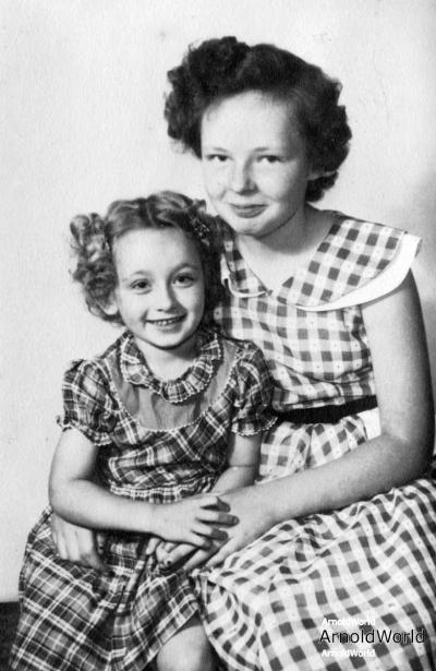 Carol Lynne Arnold and Sally Lee Arnold, circa 1951.