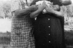 Doris J. Moore, with three-week old baby Joyce Yovonne Arnold, July 1953.