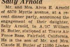 Wedding plans announced by Sally Arnold, 1956.