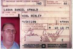 Laban D. Arnold Driver License, circa 1984.